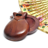 Spanish castanets and hand fan — Stock Photo