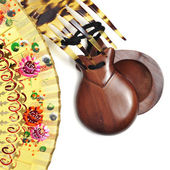 Spanish castanets, peineta and hand fan — Foto de Stock