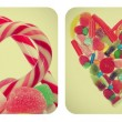 Heart candies collage — Stock Photo