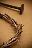 Crown of thorns and nails — Stock Photo