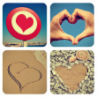 Heart-shaped things collage — Stock Photo