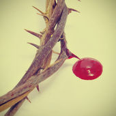 Crown of thorns and blood — Stock Photo