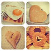 Heart-shaped food collage — Stock Photo