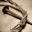 Jesus Christ crown of thorns and nail — Stock Photo