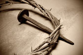 Jesus Christ crown of thorns and nail — Photo