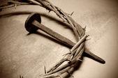 Jesus kristus krona av törnen och spik — Stockfoto