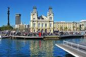 Rambla de Mar and Port Vell in Barcelona, Spain — Stock Photo