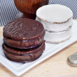 Stock Photo: Argentinean-uruguayalfajores and mate