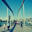 Rambla de Mar and Port Vell in Barcelona, Spain - ストック写真