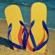 Flip-flops on the sand of a beach - Foto de Stock
