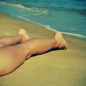 Latem na plaży — Zdjęcie stockowe