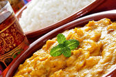 Korma curry and basmati rice — Stock Photo