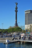 Columbus Monument and Port Vell in Barcelona, Spain — Stock Photo