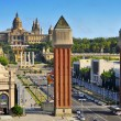 Fira and Palau Nacional in Montjuic hill, in Barcelona, Spain — Stockfoto