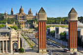Fira and Palau Nacional in Montjuic hill, in Barcelona, Spain — Stock Photo