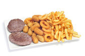 Spanish combo platter with burgers, croquettes, calamares and fr — Stock Photo