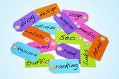 Search engine optimization och internet begrepp — Stockfoto