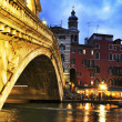 Rialto Bridge and Grand Canal in Venice, Italy — Stock Photo