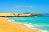 Beach in Natural Park of Dunes of Corralejo in Fuerteventura, Sp — Stock Photo