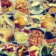 Постер, плакат: Mosaic with pictures of different meals and dishes shooted by myself simulating a wall of snapshots uploaded to social networking services