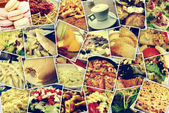 Mosaic with pictures of different meals and dishes, shooted by myself, simulating a wall of snapshots uploaded to social networking services — Stock Photo