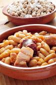 Fabada asturiana, typical spanish bean stew — Stock Photo