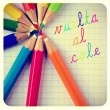 Vuelta al cole, back to school written in spanish — Stock Photo