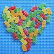 Gummy bears heart — Stock Photo