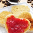 Heart-shaped toasts with jam — Stock Photo