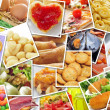 Stock Photo: Pictures of different food, shot by myself, simulating wall of