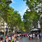 La Rambla, in Barcelona, Spain — Stock Photo