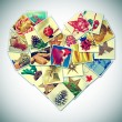 Heart-shaped christmas pictures collage — Stock Photo