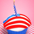 American cupcake with candle — Stock Photo #32407669