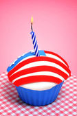 American cupcake with candle — Stock Photo