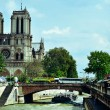 Seine River and Notre-Dame Cathedral in Paris, France — Stock fotografie