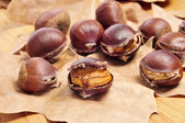 Roasted chestnuts, typical snack in All Saints Day in Catalonia, — Stock Photo