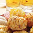 Panellets and sweet wine, typical snack in All Saints Day in Cat — Stock Photo