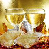 Spansk champagne och de tolv druvorna lycka till — Stockfoto