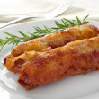 Spanish flamenquines, breaded pork loin rolled with serrano ham, — Stock Photo