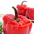 Stuffed red bell peppers — Stock Photo