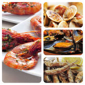 Spanish seafood tapas collage — Stock Photo