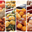 Spanish legume stews collage — Stock Photo