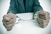 Handcuffed man — Stock Photo