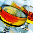 Cognac glasses with liquor — Stock Photo