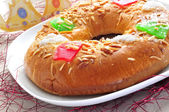Roscon de reyes, spanish three kings cake — Stock Photo