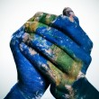 The world in your hands (Earth map furnished by NASA) — Stock Photo #36753323