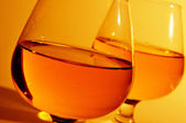 Cognac glasses with brandy — 图库照片