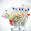 Stock Photo: Euro banknotes in shopping cart
