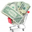 Stock Photo: US dollar banknotes in shopping cart