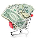 US dollar banknotes in a shopping cart — Stock Photo